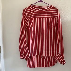 """""""J. Crew"""" Long-sleeved Red and White Stripey Top"""